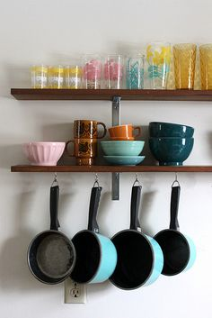 Kitchen Shelving | Rachel Denbow  Something like this would be good on the wall. In a light wood color. Could put serving ware, larger bowls, etc. on it (stuff I don't have yet and have been wanting but couldn't fit anywhere).