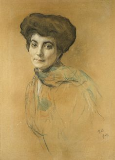 1005138.jpg (307×428)Valentin Aleksandrovich Serov (1865 - 1911)  Portrait of Elena Ivanovna Roerich  Salmina-Haskell (1989) 107  Pastel and watercolour with touches of bodycolour on light brown paper.  Sheet: 648 x 466 mm