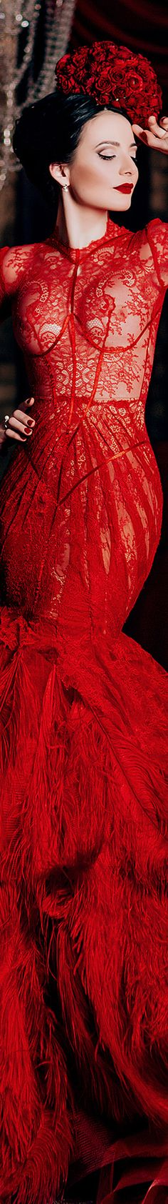 I love Anna Kiseliova's photography so much! This red feather dress is absolutely spectacular.