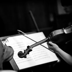 """A string quartet played Pachelbel's """"Canon in D"""" for the procession. What a classic way to start a wedding ceremony! Image credit: Black Box Photography"""