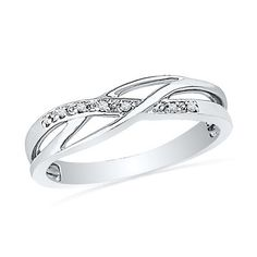 Sterling Silver Round Diamond Fashion Ring (1/20 cttw)