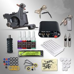 46.20$  Buy now - http://alid5g.worldwells.pw/go.php?t=32762997862 - Complete Tattoo kits 8 wrap coils black guns machine 1/6oz 4 colortattoo ink sets power supply disposable needle+steel tips+cups