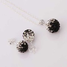 silver plated Jewelry Set Disco Ball Beads Cute Crystal Shamballa Sets Fasion Sterling Necklace Earring SBS056