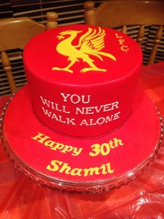 Liverpool Football Club birthday themed cake.  Created by Villa Chateau