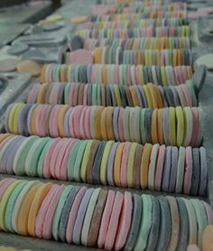 Freshly made NECCO Wafers on the line awaiting packaging. The sorting process is completely random, lending to the deliciously surprising mix of flavors in each roll! YUM!