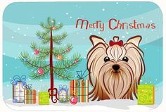 Christmas Tree and Yorkie Yorkshire Terrier Kitchen/Bath Mat