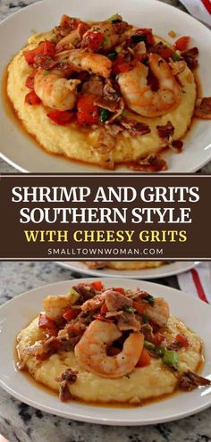 Shrimp and Grits Southern Style with Cheesy Grits is a crowd favorite! In this quick and easy recipe, shrimp is cooked with creole seasoning, red pepper, green onions, crisp bacon, and garlic over a bed of cheddar grits. This dinner idea will have you longing for more! Shrimp Recipes For Dinner, Fish Recipes, Easy Dinner Recipes, Seafood Recipes, Cooking Recipes, Seafood Appetizers, Seafood Meals, Breakfast Recipes, Chicken Recipes