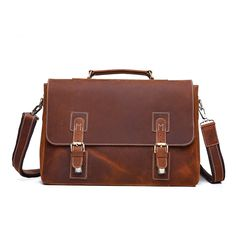 98.87$  Watch here - http://ali5uf.worldwells.pw/go.php?t=32748000558 - Vintage Genuine Leather business 14 inch laptop briefcase high quality Retro mens crazy horse handbag men shoulder Bags 98.87$