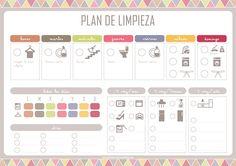 PlanningLimpiezaNuevasIdeasNuevosComienzos1Peq Diy Agenda, Agenda Planner, Happy Planner, Printable Planner, Planner Stickers, Printables, Week Planer, Vie Simple, Home Management Binder
