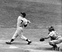 Mickey Mantle was a hall of fame baseball player. He was an outfielder and a first baseman for 18 seasons with the NY Yankees. He moved from first base to center field in replacing Joe DiMaggio Baseball Star, Baseball Quotes, Baseball Pictures, Sports Pictures, Baseball Cards, Baseball Classic, Cardinals Baseball, Sports Baseball, Famous Baseball Players