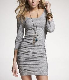 Rouched Scoop Neck Dress, Lt. Heather Gray, $34.93, Express.