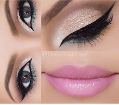 Stunning white to dark matte brown smoke with green liner under the eye finished off with a bubblegum pink pout #Makeup...x