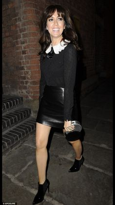 Cherie - Crickets Christmas party. Sparkly black top with white embroided collar and black leather skirt
