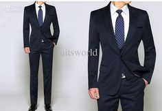 Wholesale custom made men's suits 3 pcsnew blue with waistcoat wool wedding suits formal suits grooms suits bridegroom suits, Free shipping, $119.9-151.8/Set | DHgate