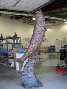 Bronze Garden Or Yard / Outside and Outdoor sculpture by artist Felix Velez titled: 'Breaking Waves (Big bronze Leaping Tarpen Game Fish sculpture/statue)'