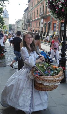 Pretty Girl Is Selling Flowers, Lviv, Western Ukraine,  This looks like what I saw in Odessa.