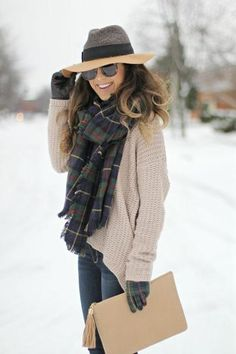 Fall outfit: Oversized plaid scarf, comfy sweater, plaid gloves, and color blocked hat