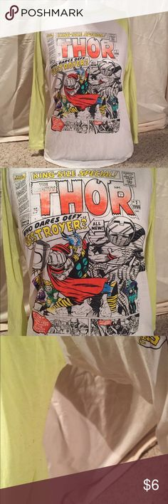 Thor baseball tee Neon yellow & white baseball tee with a Thor comic book graphic on the front. Super cool tee! Has some wear as pictured but still looks good! Marvel Tops Tees - Long Sleeve
