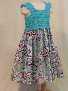 Click on the link for more! ADORABLE Baby dress with crochet bodice turquoise blue by FeathersnFrocks