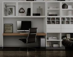 modern home office decorating ideas minimal and functional Home Office Design, House Design, Etagere Design, Office Nook, Bedroom Office, Study Nook, Built In Desk, Small Office, Cabinet Furniture