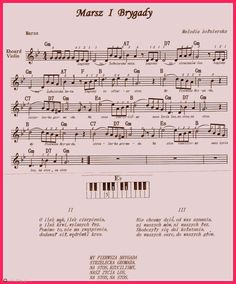 Marsz  I  Brygady. Music Pictures, Violin, Piano, Sheet Music, Sticker, Blog, Pianos, Stickers, Blogging