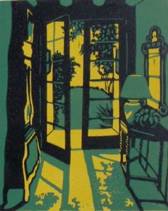 """""""Welcome Shadows"""" Reduction linocut by Anne Moore. http://www.annesprints.com/ Tags: Linocut, Cut, Print, Linoleum, Lino, Carving, Block, Woodcut, Helen Elstone, Interior, Sunset, French doors, Hallway."""