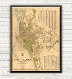 Old Map of Manila, Philippines 1920 - product image Ancient Greek Architecture, Gothic Architecture, Philippine Map, Manila Philippines, Vintage Maps, City Maps, Chinese Culture, Vietnam Travel, Pigment Ink
