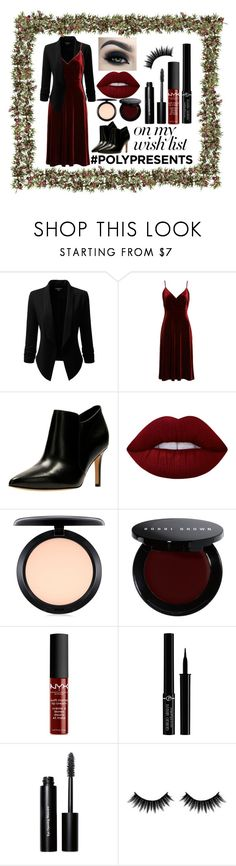 """""""#PolyPresents: Wish List"""" by the-elemental-of-life ❤ liked on Polyvore featuring Doublju, Ali & Jay, Clarks, Lime Crime, Too Faced Cosmetics, MAC Cosmetics, Bobbi Brown Cosmetics, NYX, Giorgio Armani and Morphe"""