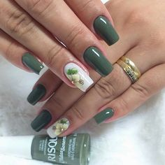43 Unique Spring And Summer Nails Color Ideas That You Must Try 65 Perfect Nails, Gorgeous Nails, Pretty Nails, Manicure E Pedicure, Green Nails, Flower Nails, Creative Nails, Stylish Nails, French Nails