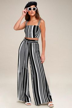 f71a0f775c Set out for an exotic adventure in the Road Trip to Rio Black Striped  Two-Piece Set! Striped two-piece set features with crop top and wide-leg  pants.