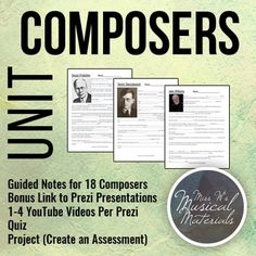 18 Composers Guided Notes Links to Prezis Quiz & Project Music Lesson Plans, Music Lessons, Music Activities, Music Games, Music Education, Kids Education, Music And Movement, Elementary Music, Classroom Inspiration
