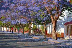 Roelof Rossouw Landscape Art, Landscape Architecture, South Africa Art, House Paintings, Cape Dutch, African Art Paintings, South African Artists, Impressionism, Flower Art