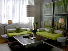 """""""Zen Living Room"""" ¶ The lounge-like sofas do not look comfortable, but I love the colors and the textures here."""