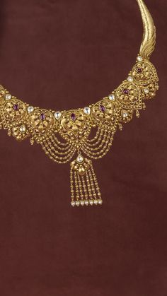 Timeless craftsmanship accented with beads of gold on the AZVA necklace Gold Mangalsutra Designs, Gold Earrings Designs, Gold Jewellery Design, Gold Wedding Jewelry, Bridal Jewelry, Gold Jewelry, Gold Necklace, Indian Jewelry Earrings, Jhumki Earrings