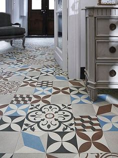 A stylish design inspired by ceramic tiles from Morocco. Samples Available per square metre (minimum order x Fez Dark Vinyl Flooring Vinyl Sheet Flooring, Vinyl Flooring Kitchen, Hall Flooring, Flooring Shops, Vinyl Rug, Flooring Ideas, Dark Blue Kitchens, Inexpensive Flooring, Garden Tiles