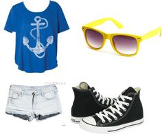 anchor, created by your-oneandonly on Polyvore- cute outfit!!! But I'd prefer my blue raybans with it ;)