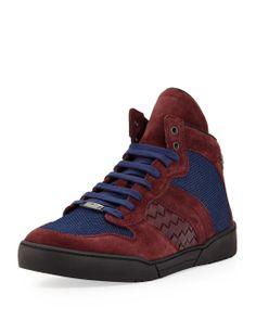 Bottega Veneta Men's Mesh High-Top Sneaker, Blue - Erkek Ayakkabı  #bottegaveneta #menshoes #menshop #mensfashion #love #askmoda #moda #alisverisbirasktir #bottegavenetaayakkabi #bottegavenetaturkiye #bottegavenetasneakers