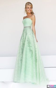 A Line Lace and Tulle Beaded Belt Floor Length Long Prom Dress