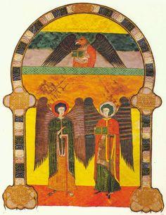Beato ( V ) Facundo o de Fernando I y doña Sancha Romanesque Art, Statues, Book Of Hours, Medieval Art, Illuminated Manuscript, Religious Art, Islamic Art, Middle Ages, Les Oeuvres