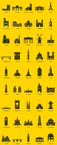 European Capitals - Icon Set by Jozsef Balazs-Hegedus, via Behance