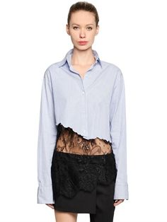FILLES A PAPA - CROPPED COTTON SHIRT WITH LACE HEM - SHIRTS - BLUE/BLACK - LUISAVIAROMA