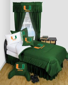Discount prices on Miami Hurricanes Locker Room Bedding College. Shop our incredible selection of interior decorating products. Sports Bedding, Dorm Bedding, University Of Miami Hurricanes, Hurricanes Football, Miami University, Nfl, Georgia Bulldogs, Bedroom Sets, Bedrooms
