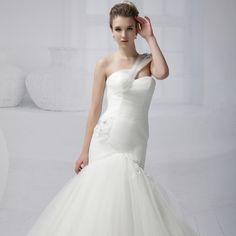 婚紗禮服新款2014韓版公主單肩綁帶收腰包臀魚尾齊地婚紗禮服包郵