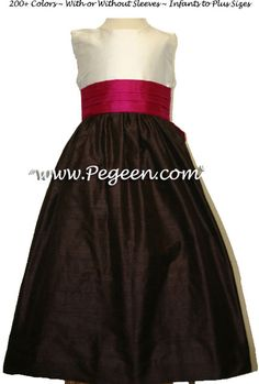 Raspberry and Chocolate Brown custom silk flower girl dresses | Pegeen ~ Located 1 mile from Disney World, Selling online and shipping worldwide. Call us for design help! 407-928-2377