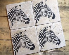 Zebra Coasters - Set of 2 or 4 - Natural Stone Coaster - Home decor - Animal - Christmas Gift by StampWithTiff on Etsy