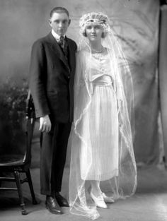 Vintage bride and groom from 1920s