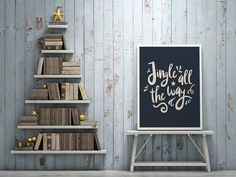 Jingle All The Way Print Typography Print by LovelyPosters on Etsy Birds Of America, America 2, Antler Art, Jingle All The Way, Gold Walls, Grey And Gold, Poster Making, Typography Prints, Minimalist Art