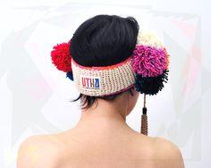 Ethnic pom pom ear warmer by UTHAhats