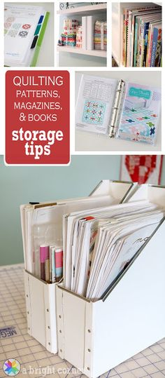 Sewing Room organization tips for storing quilt patterns, magazines, and books from A Bright Corner
