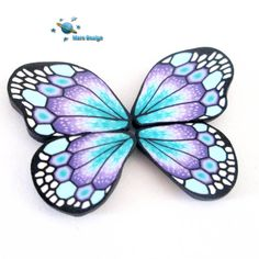 Polymer clay turquoise purple BUTTERFLY WING Millefiori Canes by marsdesign